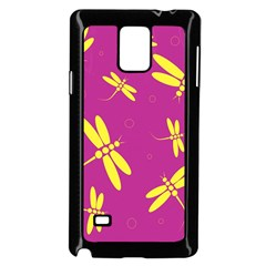 Purple and yellow dragonflies pattern Samsung Galaxy Note 4 Case (Black)