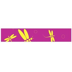 Purple and yellow dragonflies pattern Flano Scarf (Large)