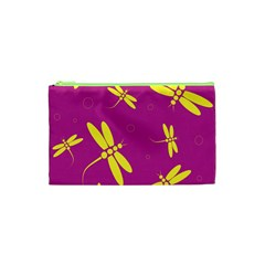 Purple and yellow dragonflies pattern Cosmetic Bag (XS)