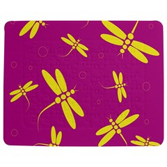 Purple and yellow dragonflies pattern Jigsaw Puzzle Photo Stand (Rectangular)