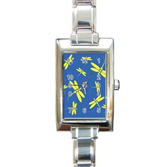 Blue and yellow dragonflies pattern Rectangle Italian Charm Watch