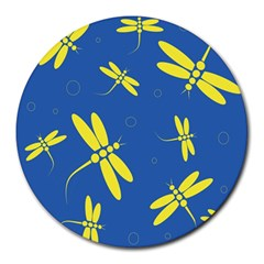 Blue and yellow dragonflies pattern Round Mousepads