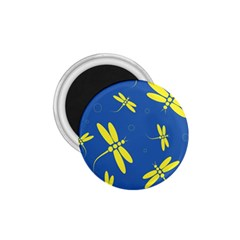 Blue and yellow dragonflies pattern 1.75  Magnets