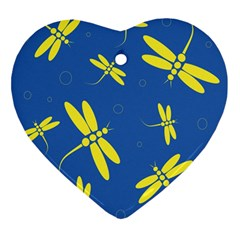 Blue and yellow dragonflies pattern Ornament (Heart)