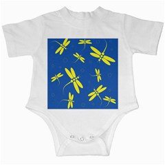 Blue and yellow dragonflies pattern Infant Creepers