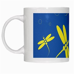 Blue and yellow dragonflies pattern White Mugs