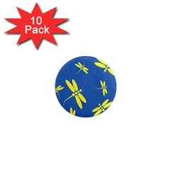 Blue and yellow dragonflies pattern 1  Mini Magnet (10 pack)