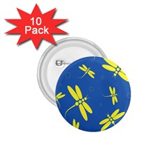 Blue and yellow dragonflies pattern 1.75  Buttons (10 pack)
