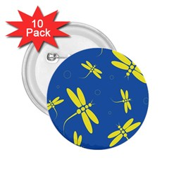 Blue and yellow dragonflies pattern 2.25  Buttons (10 pack)