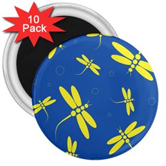 Blue and yellow dragonflies pattern 3  Magnets (10 pack)