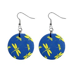 Blue and yellow dragonflies pattern Mini Button Earrings