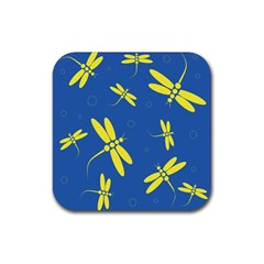 Blue and yellow dragonflies pattern Rubber Square Coaster (4 pack)