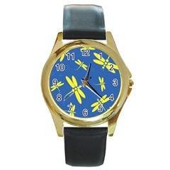 Blue and yellow dragonflies pattern Round Gold Metal Watch