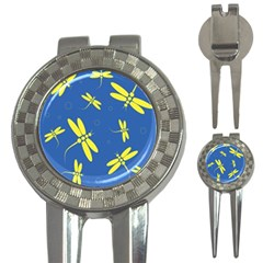 Blue and yellow dragonflies pattern 3-in-1 Golf Divots