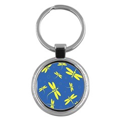 Blue and yellow dragonflies pattern Key Chains (Round)