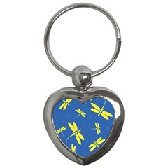 Blue and yellow dragonflies pattern Key Chains (Heart)