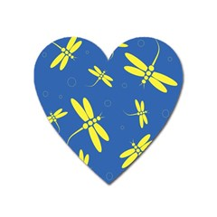 Blue and yellow dragonflies pattern Heart Magnet