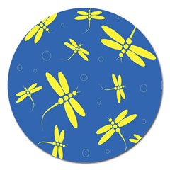 Blue and yellow dragonflies pattern Magnet 5  (Round)