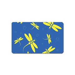 Blue and yellow dragonflies pattern Magnet (Name Card)