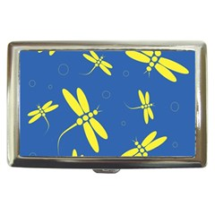 Blue and yellow dragonflies pattern Cigarette Money Cases