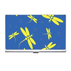 Blue and yellow dragonflies pattern Business Card Holders