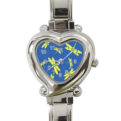 Blue and yellow dragonflies pattern Heart Italian Charm Watch