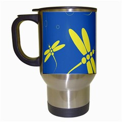 Blue and yellow dragonflies pattern Travel Mugs (White)