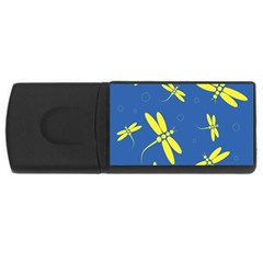 Blue and yellow dragonflies pattern USB Flash Drive Rectangular (4 GB)