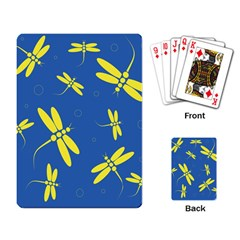 Blue and yellow dragonflies pattern Playing Card