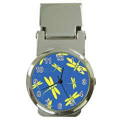 Blue and yellow dragonflies pattern Money Clip Watches