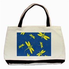 Blue and yellow dragonflies pattern Basic Tote Bag