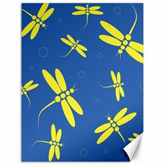 Blue and yellow dragonflies pattern Canvas 18  x 24