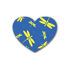 Blue and yellow dragonflies pattern Heart Coaster (4 pack)