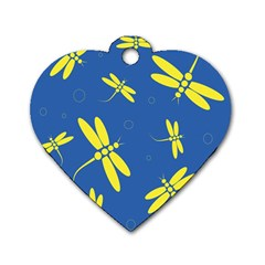 Blue and yellow dragonflies pattern Dog Tag Heart (One Side)
