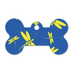 Blue and yellow dragonflies pattern Dog Tag Bone (One Side)