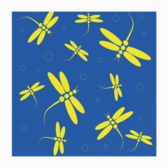 Blue and yellow dragonflies pattern Medium Glasses Cloth (2-Side)