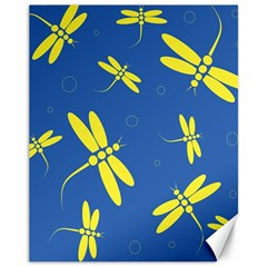 Blue and yellow dragonflies pattern Canvas 11  x 14