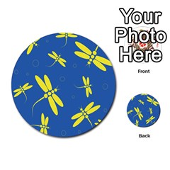 Blue and yellow dragonflies pattern Multi-purpose Cards (Round)