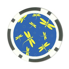 Blue and yellow dragonflies pattern Poker Chip Card Guards (10 pack)