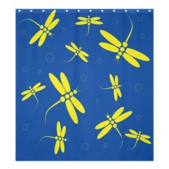Blue and yellow dragonflies pattern Shower Curtain 66  x 72  (Large)