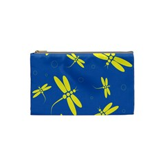 Blue and yellow dragonflies pattern Cosmetic Bag (Small)