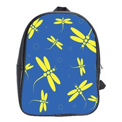Blue and yellow dragonflies pattern School Bags(Large)
