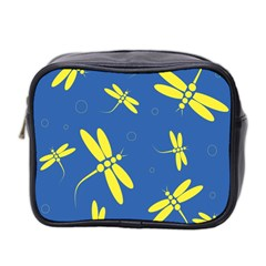 Blue and yellow dragonflies pattern Mini Toiletries Bag 2-Side