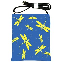 Blue and yellow dragonflies pattern Shoulder Sling Bags