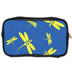 Blue and yellow dragonflies pattern Toiletries Bags 2-Side