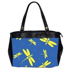 Blue and yellow dragonflies pattern Office Handbags (2 Sides)