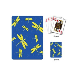 Blue and yellow dragonflies pattern Playing Cards (Mini)