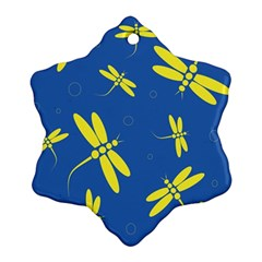 Blue and yellow dragonflies pattern Ornament (Snowflake)