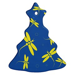 Blue and yellow dragonflies pattern Ornament (Christmas Tree)