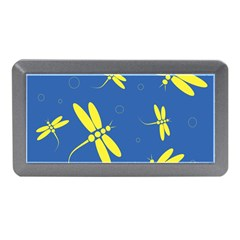 Blue and yellow dragonflies pattern Memory Card Reader (Mini)